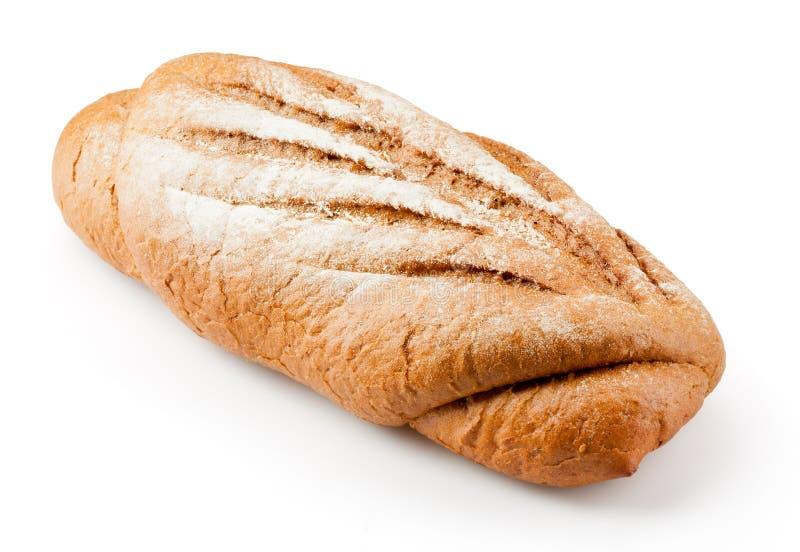 在白色隔绝的新鲜的被烘烤的长的大面包 免版税图库摄影