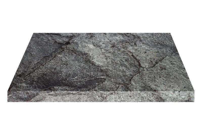 在白色隔绝的方形的黑石板材 图库摄影
