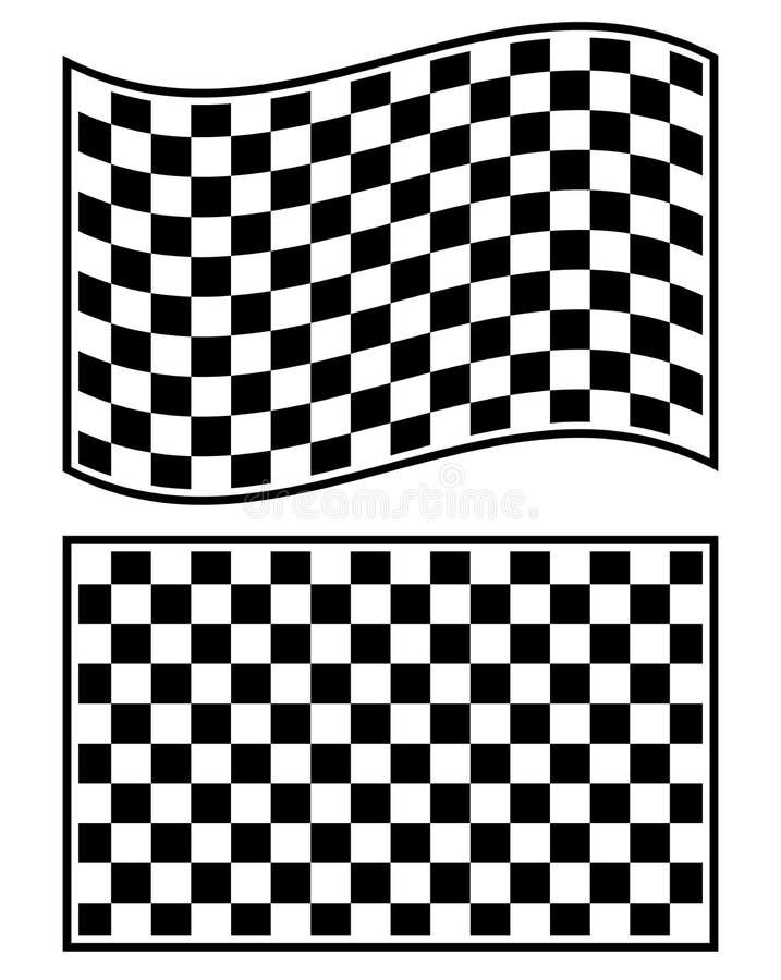 在白色隔绝的方格的赛跑的旗子元素 向量例证