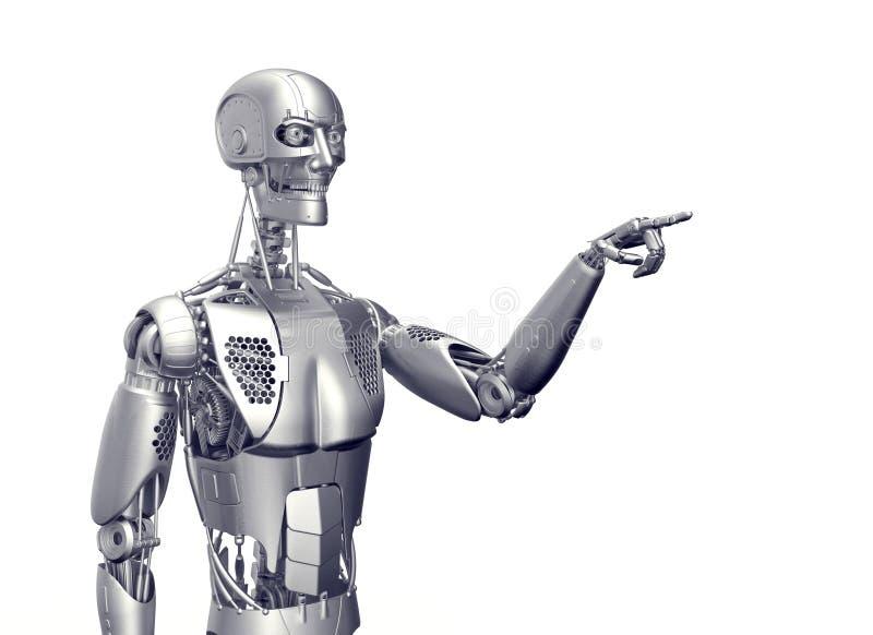 在白色隔绝的有人的特点的机器人 库存例证