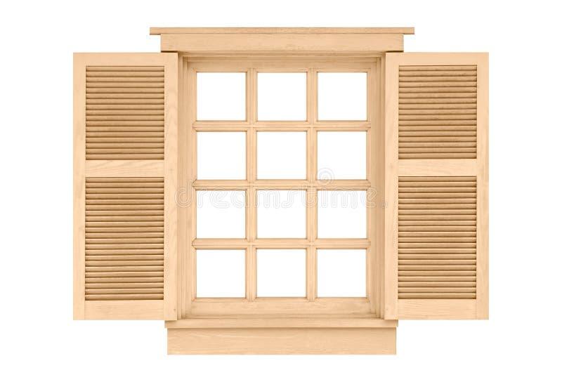 在白色隔绝的木窗架 库存照片