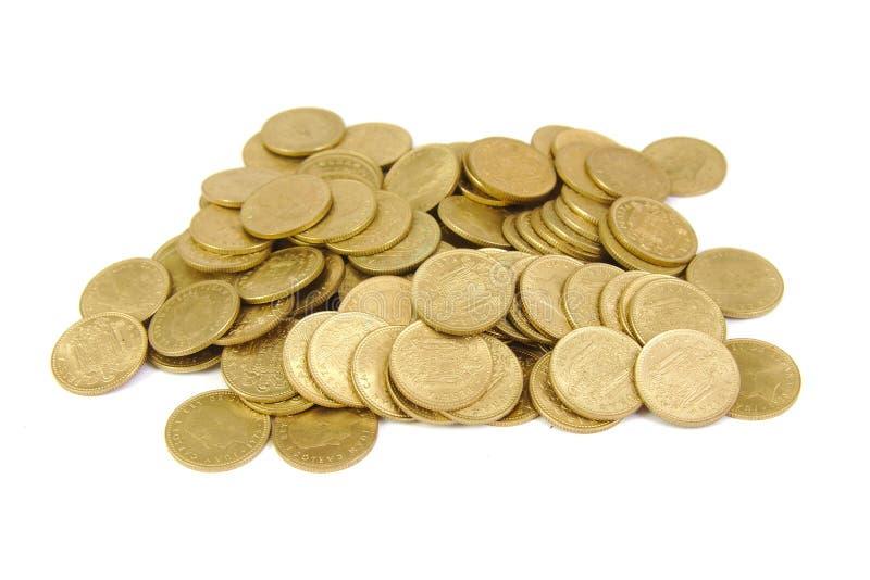 在白色隔绝的束老西班牙硬币 库存图片
