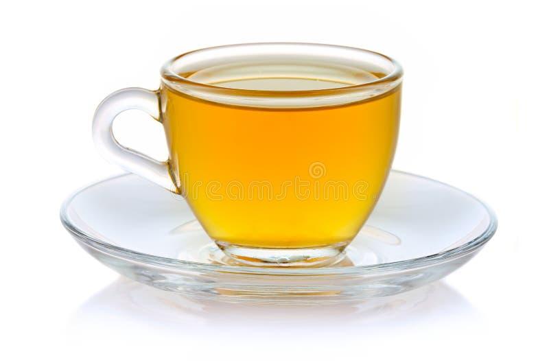 在白色隔绝的杯热的绿茶 库存图片