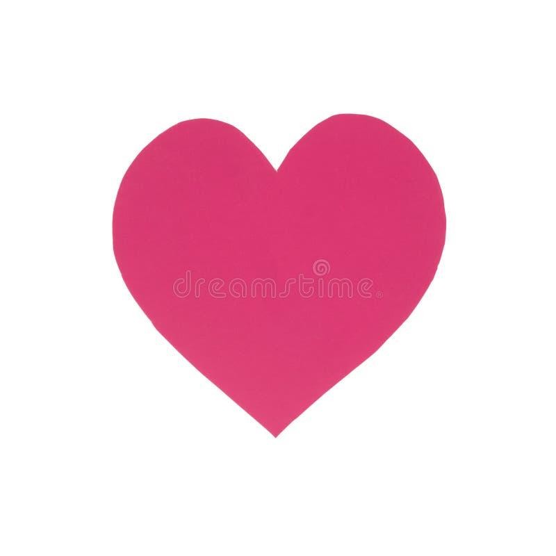 在白色隔绝的桃红色纸心脏 库存照片