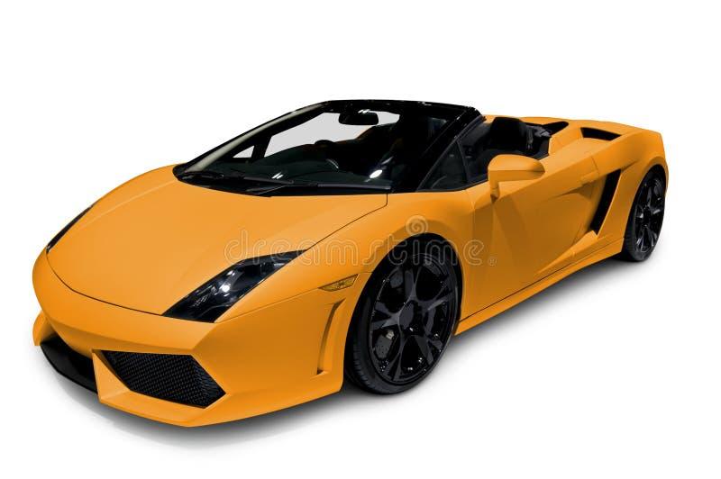 在白色隔绝的橙色跑车 库存图片