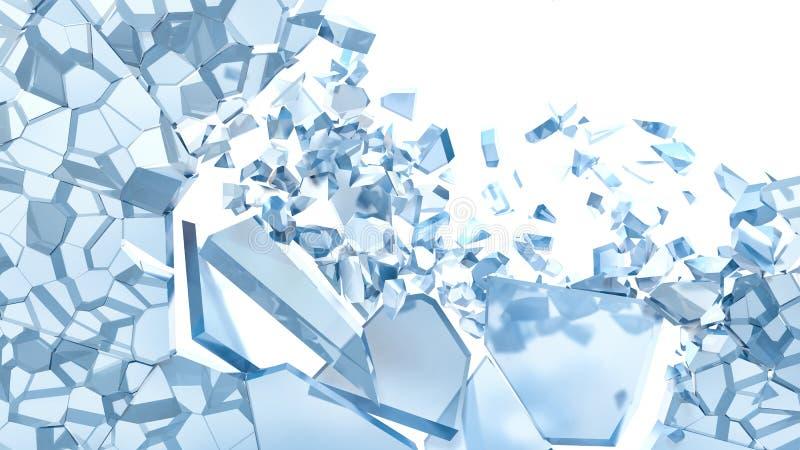 在白色隔绝的残破的蓝色玻璃的抽象例证 皇族释放例证
