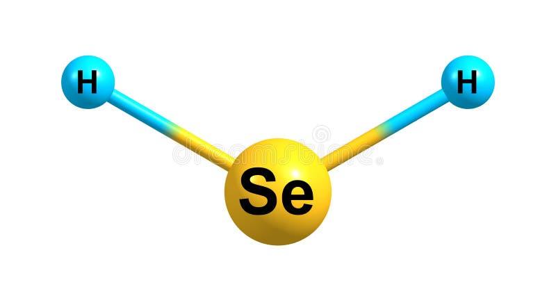 在白色隔绝的氢硒化物分子结构 库存例证