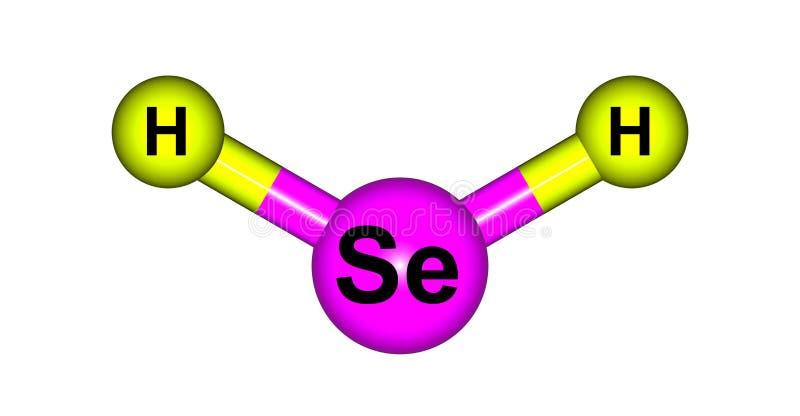 在白色隔绝的氢硒化物分子结构 向量例证
