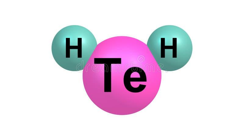 在白色隔绝的氢碲化物分子结构 皇族释放例证