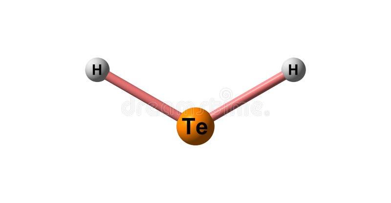 在白色隔绝的氢碲化物分子结构 库存例证