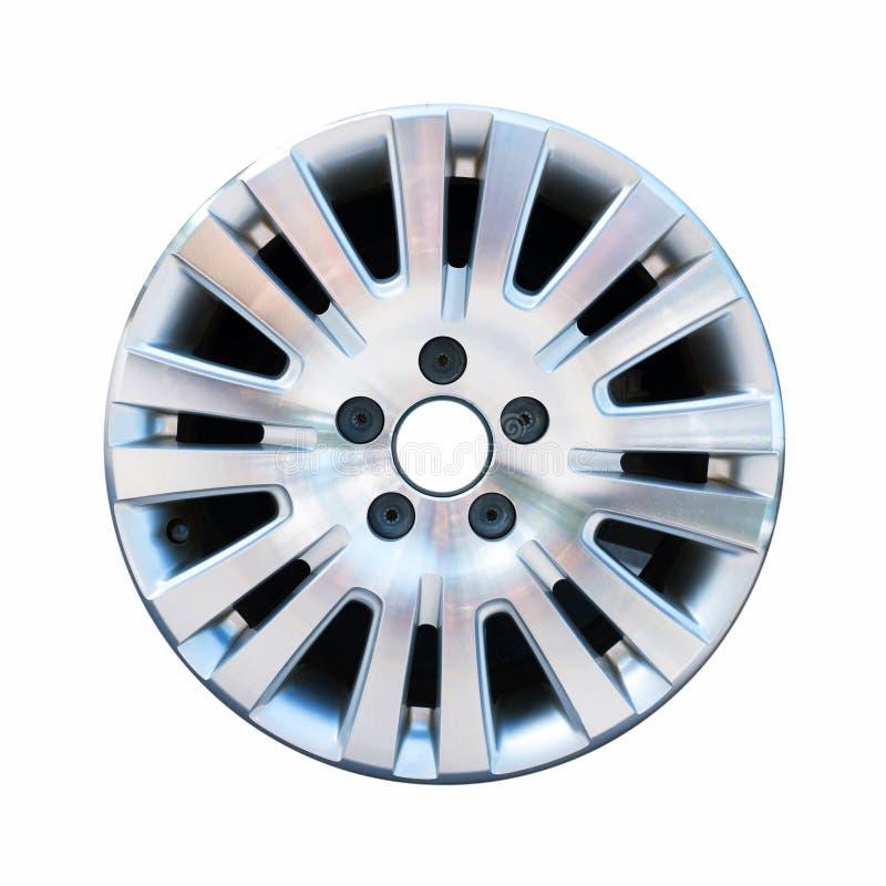 在白色隔绝的汽车铝轮子外缘 图库摄影