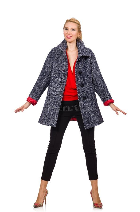 在白色隔绝的灰色外套的俏丽的模型 免版税库存图片