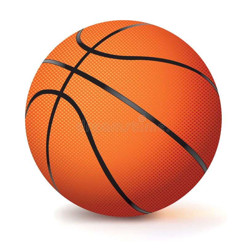 在白色隔绝的现实传染媒介篮球 向量例证