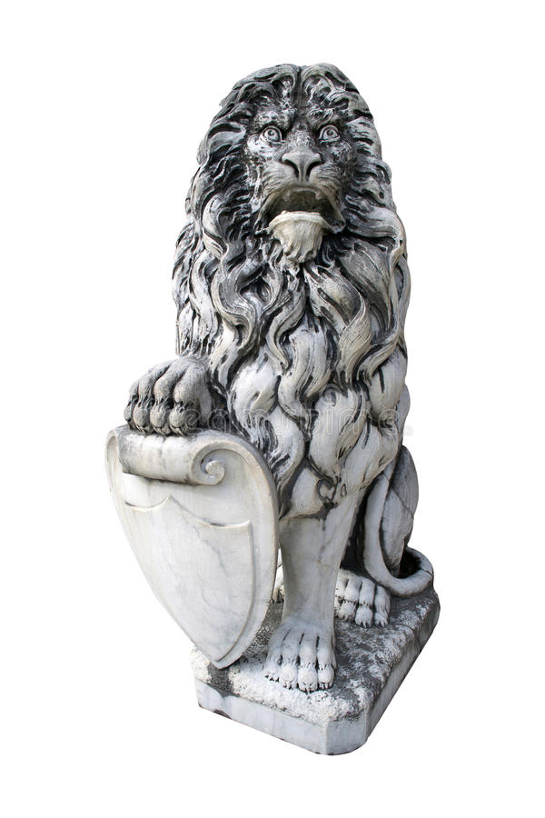 在白色隔绝的监护人狮子的雕塑 库存图片