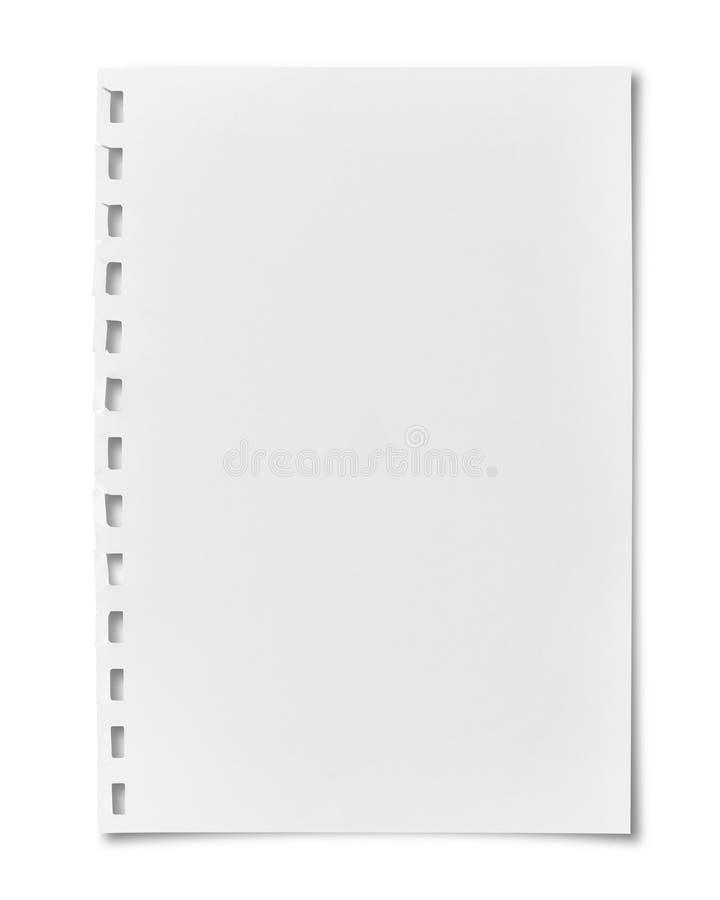 在白色隔绝的空白的便条纸 免版税图库摄影