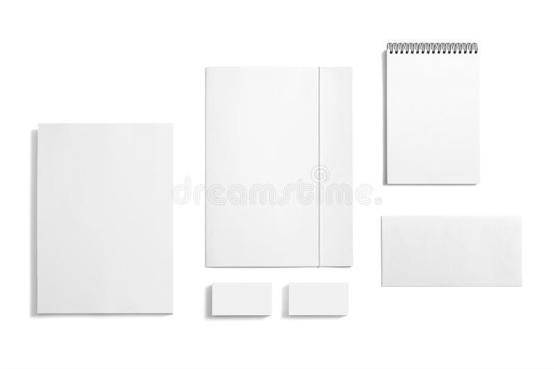 在白色隔绝的空白的文具集合 免版税图库摄影