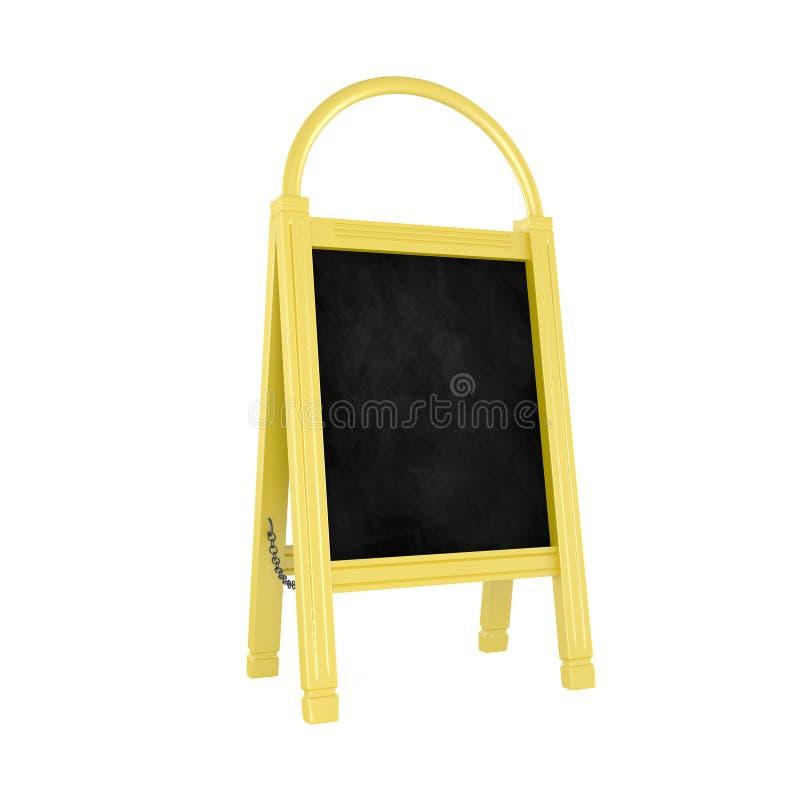 在白色隔绝的空白的黄色菜单板 库存例证