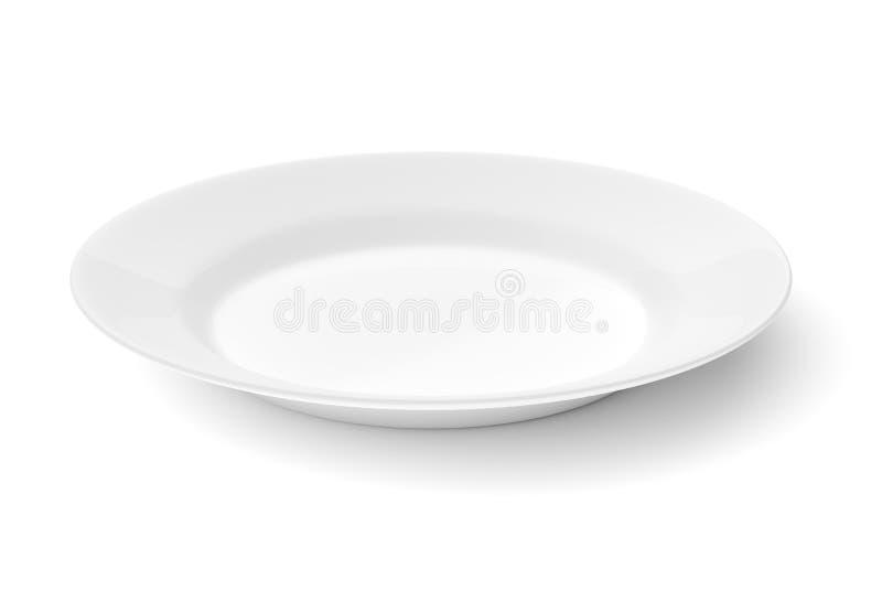 在白色隔绝的空的陶瓷圆的板材 免版税库存图片