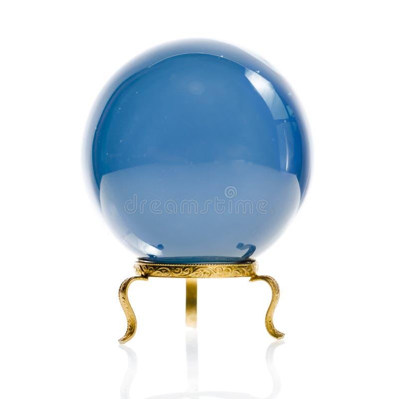在白色隔绝的算命者的水晶球 库存照片