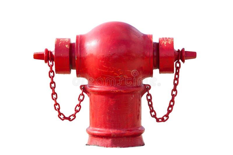 在白色隔绝的红火消防栓 库存图片