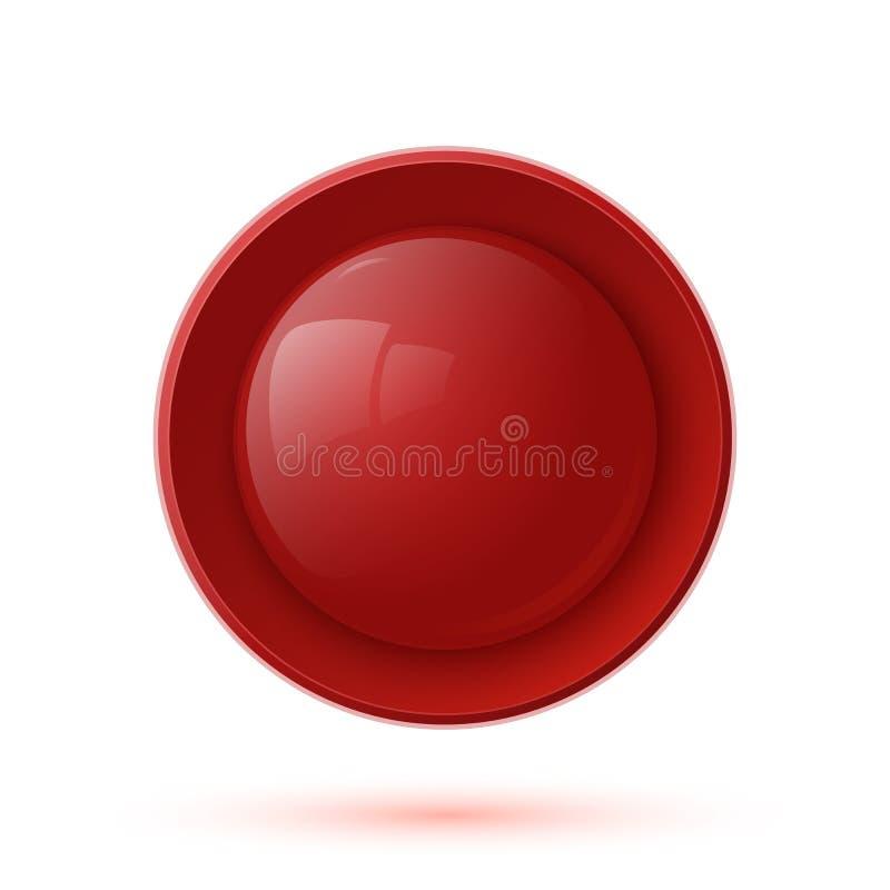 在白色隔绝的红色光滑的按钮象 皇族释放例证