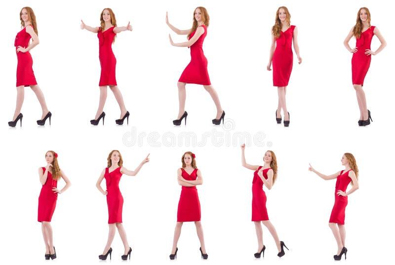 在白色隔绝的红色礼服的相当女孩 免版税库存照片