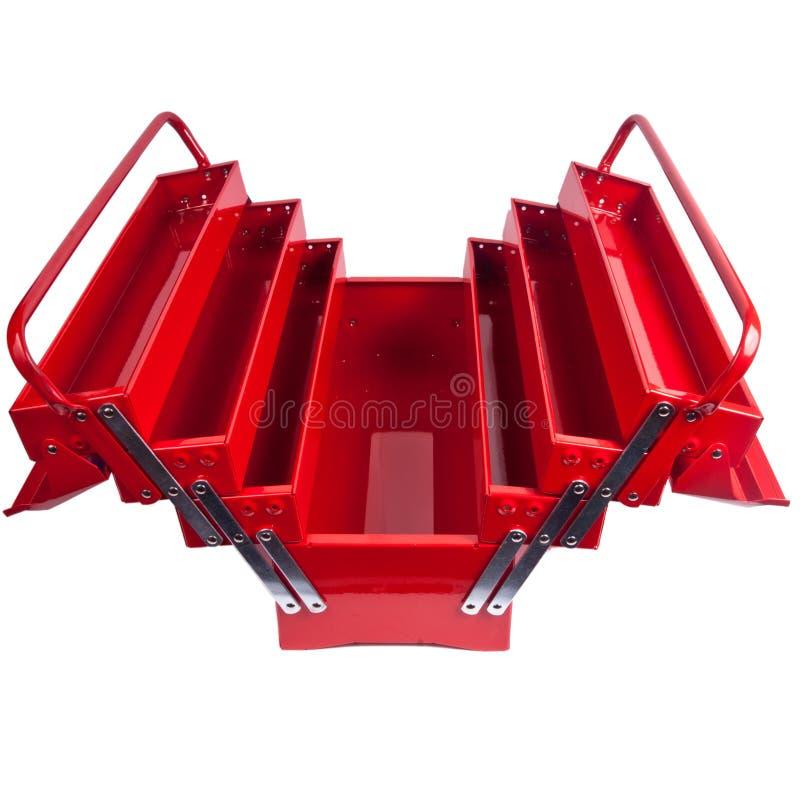 在白色隔绝的红色金属工具箱 免版税库存照片