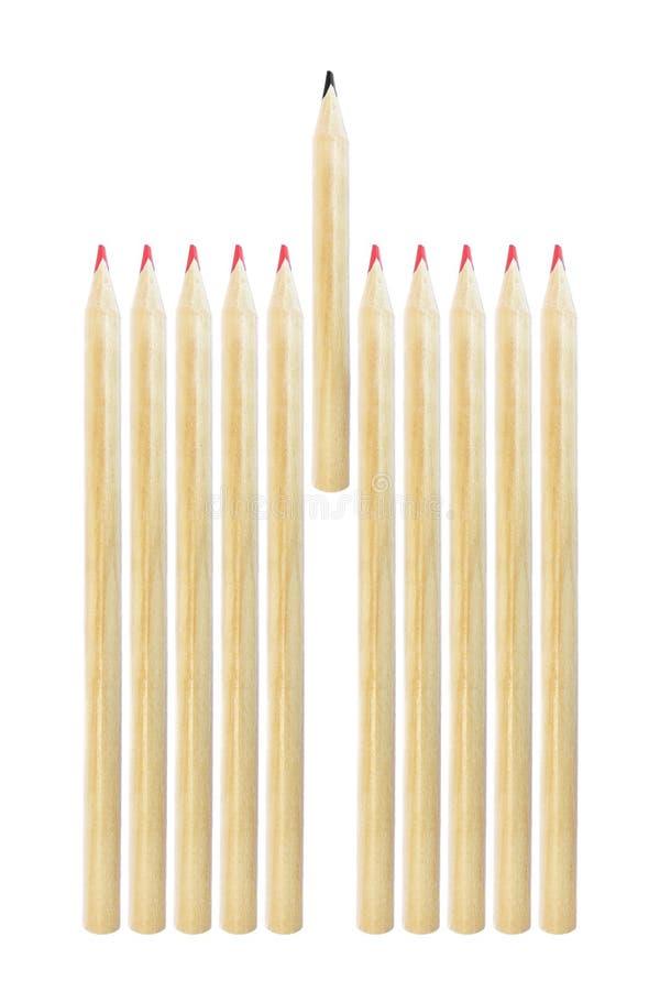 在白色隔绝的红色铅笔中的铅笔 免版税库存照片