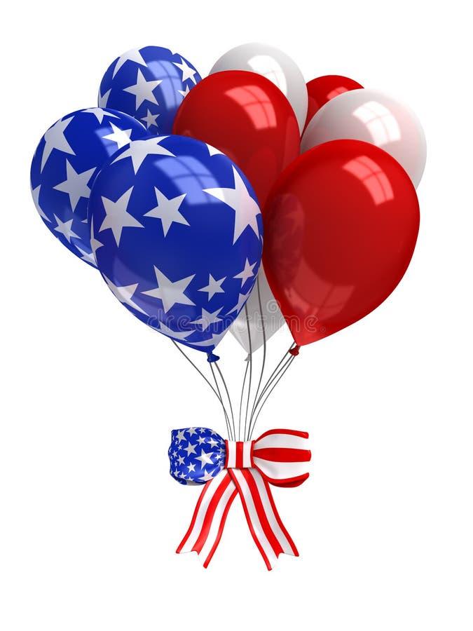 在白色隔绝的红色,白色和蓝色气球 皇族释放例证