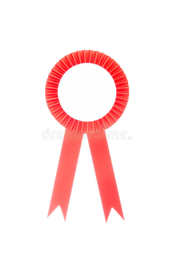 在白色隔绝的红色织品奖丝带 免版税库存图片
