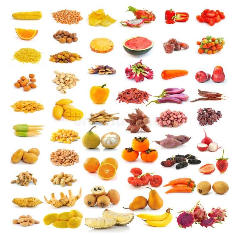 在白色隔绝的红色黄色食物收藏 免版税库存照片