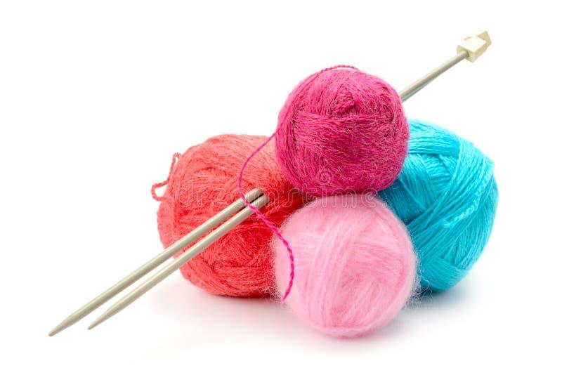 在白色隔绝的羊毛螺纹球品种  免版税库存图片