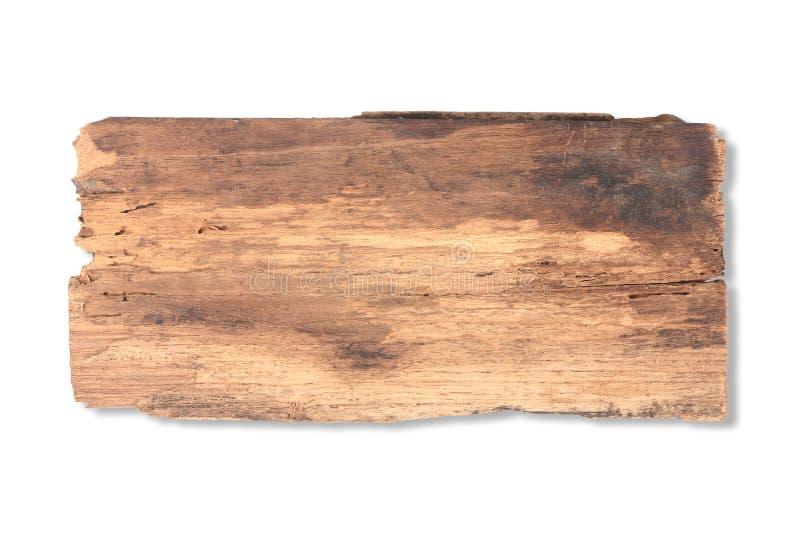 在白色隔绝的老板条木头 免版税库存图片