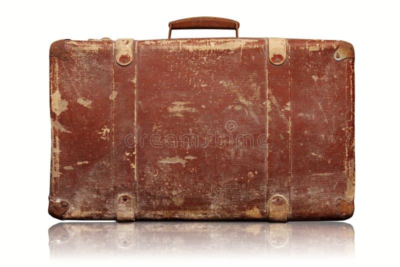 在白色隔绝的老葡萄酒手提箱 免版税库存图片