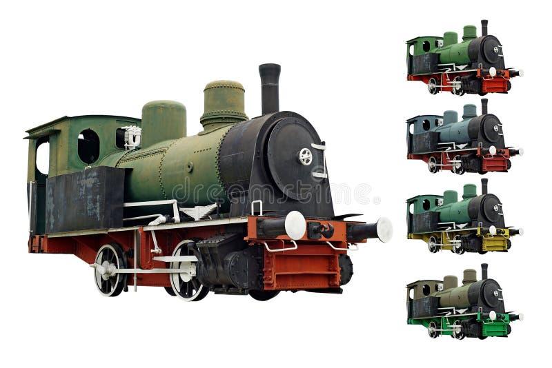在白色隔绝的老蒸汽引擎活动火车 免版税库存图片