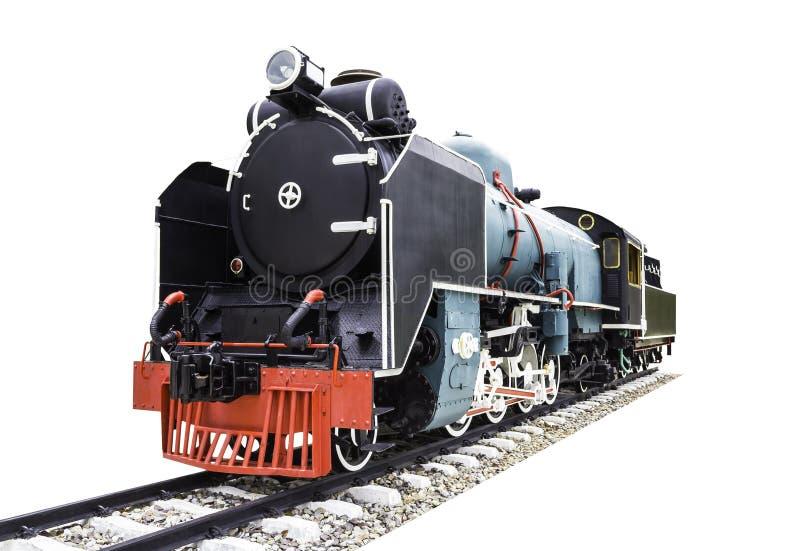 在白色隔绝的老蒸汽火车 免版税库存照片