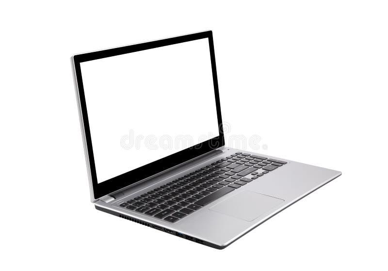 在白色隔绝的膝上型计算机 免版税库存照片