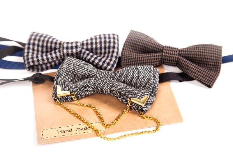 在白色隔绝的葡萄酒弓领带 其中一些 免版税库存照片