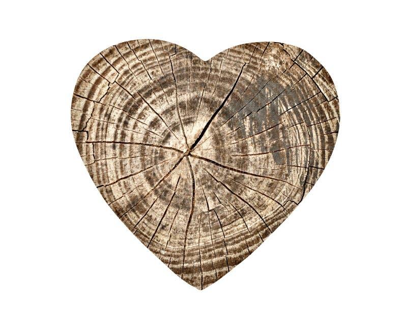 在白色隔绝的葡萄酒木心脏 免版税库存照片