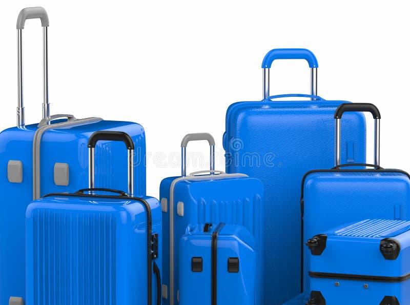 在白色隔绝的蓝色坚硬案件行李 库存例证