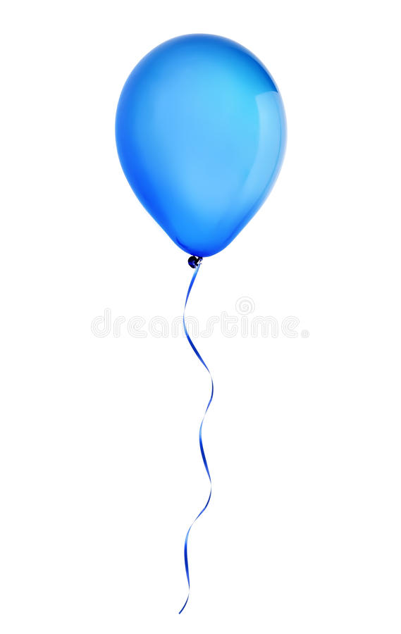 在白色隔绝的蓝色愉快的假日空气飞行气球 免版税库存照片
