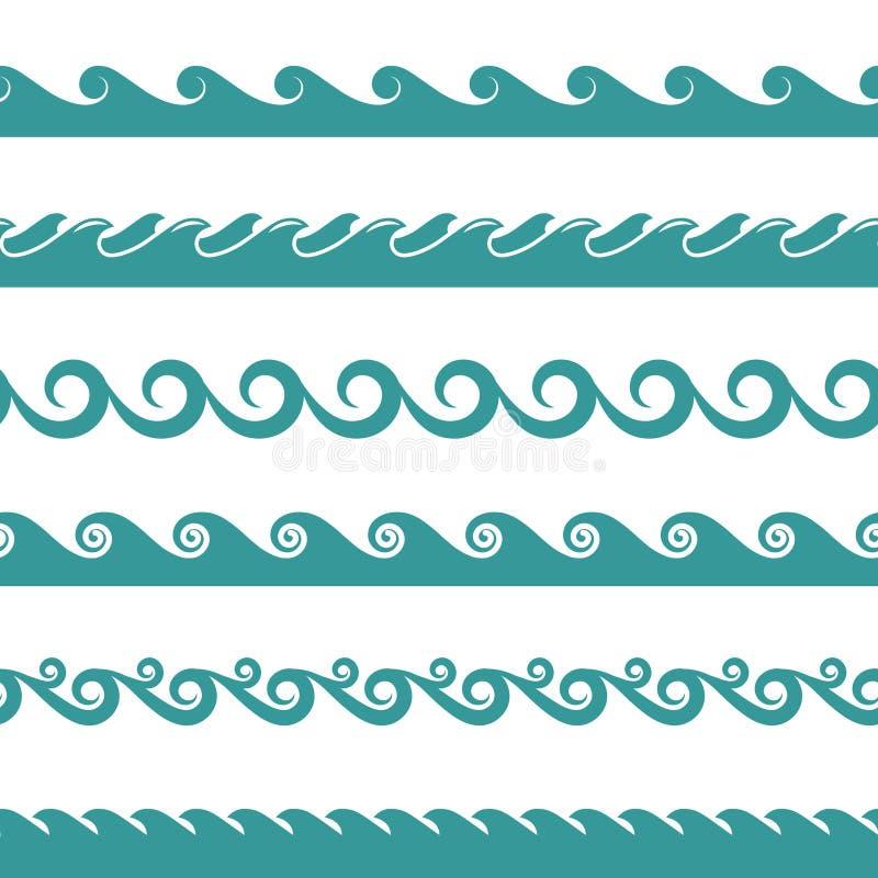 在白色隔绝的蓝色海浪传染媒介标志 皇族释放例证