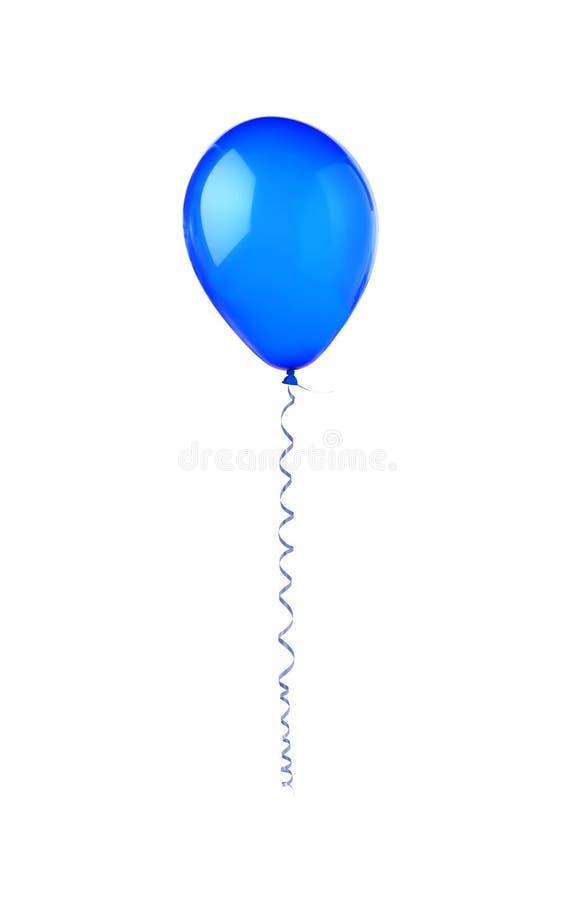 在白色隔绝的蓝色热空气飞行气球假日装饰 图库摄影