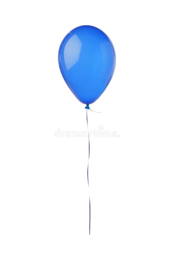 在白色隔绝的蓝色飞行气球 免版税库存照片