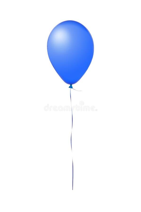 在白色隔绝的蓝色飞行气球 库存照片
