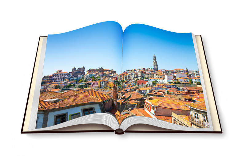 在白色隔绝的被打开的photobook的波尔图全景  向量例证
