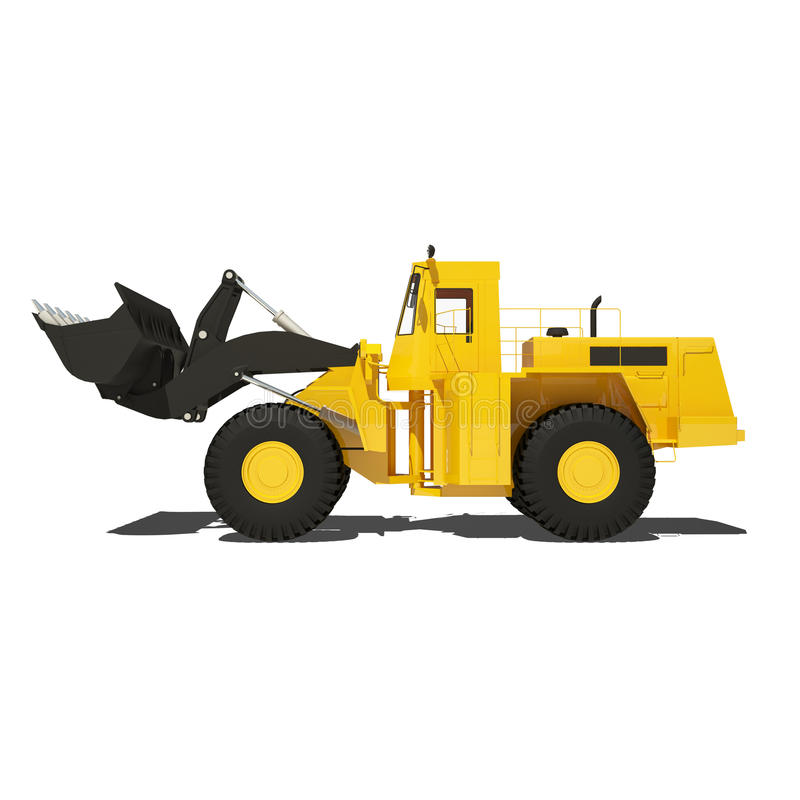 在白色隔绝的装载者挖掘机 向量例证