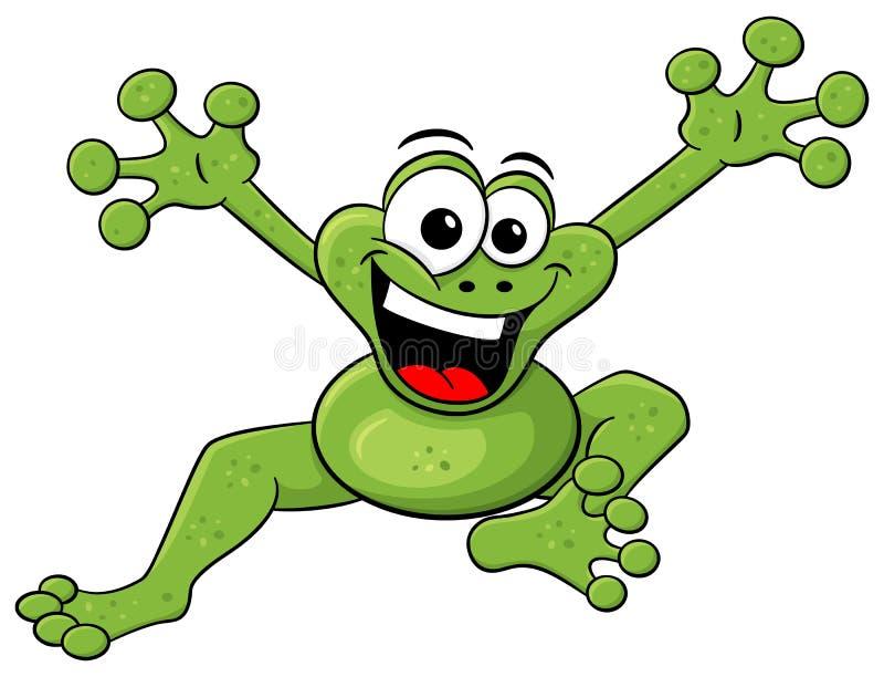 在白色隔绝的跳跃的动画片青蛙 库存例证