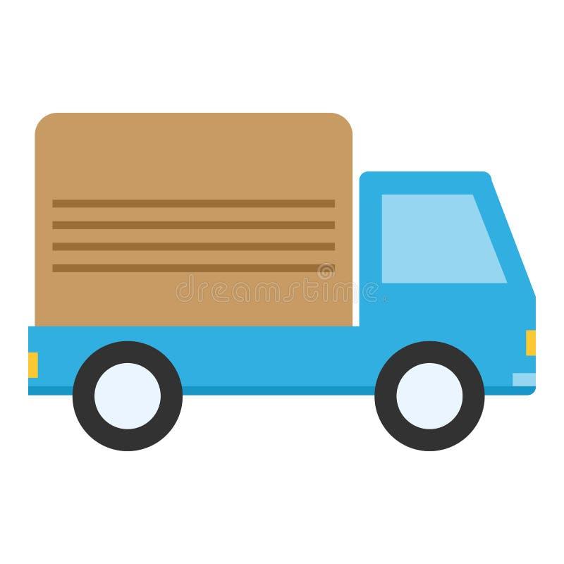 在白色隔绝的送货车平的象 库存例证