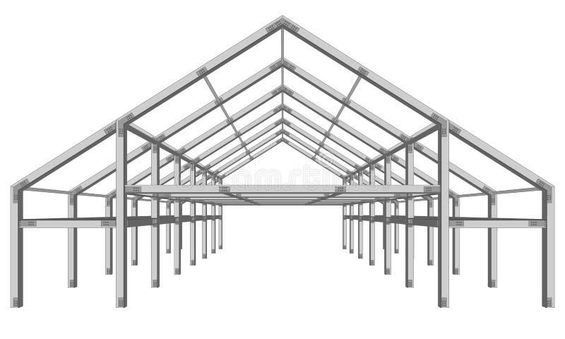 在白色隔绝的钢制框架宽建筑项目计划 皇族释放例证